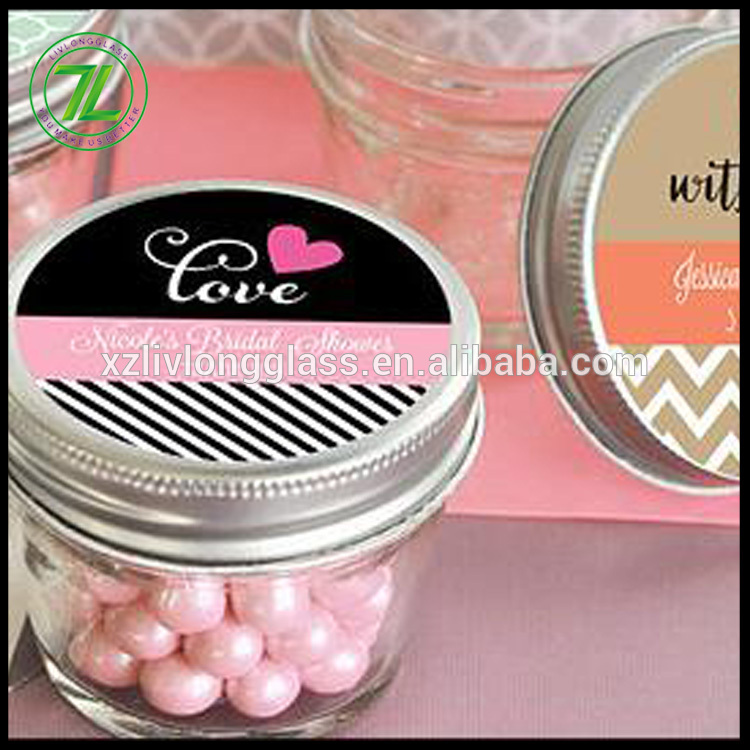 customize 100ml mini glass jar 3.5oz glass wedding jar with silver lids