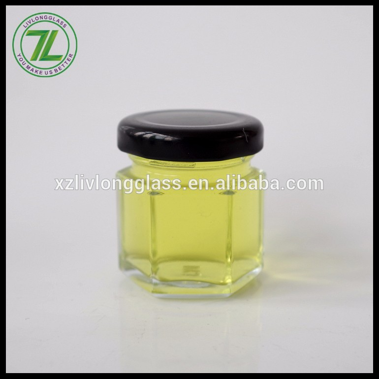 30ml mini hexagon glass jar honey jars hexagon shaped with metal lid