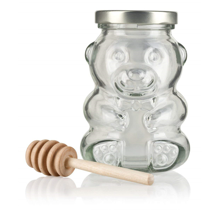 wholesale cheap 200ml teddy bear shaped  frosco vidrio  glass bottle honey bee candy sugar chocolate glass jar with lug lid 8oz