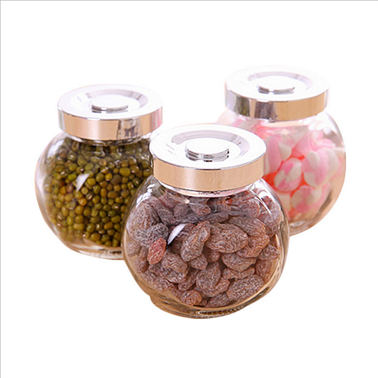 factory selling cheap small Flat drum 90ML fancy candy chocolate nut food storage canister glass jar with silver plastic lid3oz