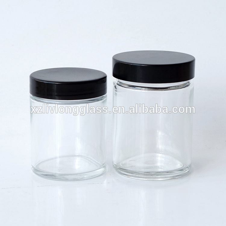 2oz 3oz Clear GLASS Jar Straight Sided with Plastic Lined Cap