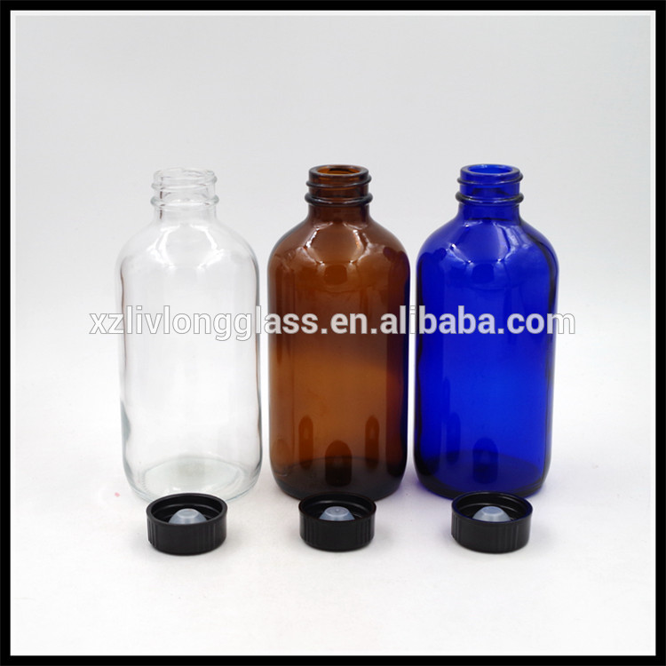 Wholesale Empty Boston Round Shape Essential Oil Glass Bottles With Screw Cap