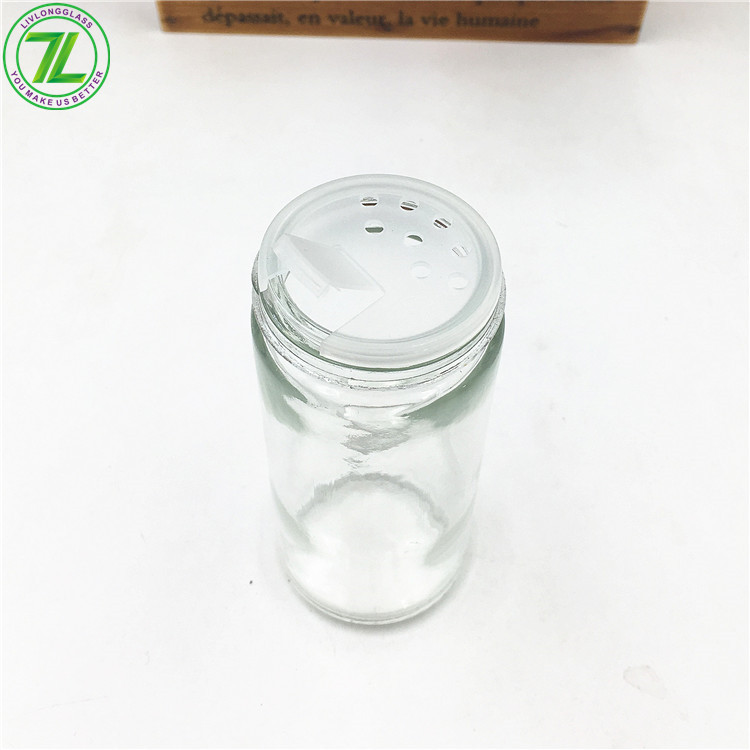 80ml Glass Spice Bottle Clear Round Jar With Metal Cap And Shaker