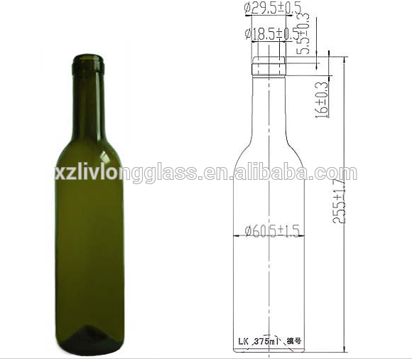 375ml Dark Green Wine Glass Bottle With Cork