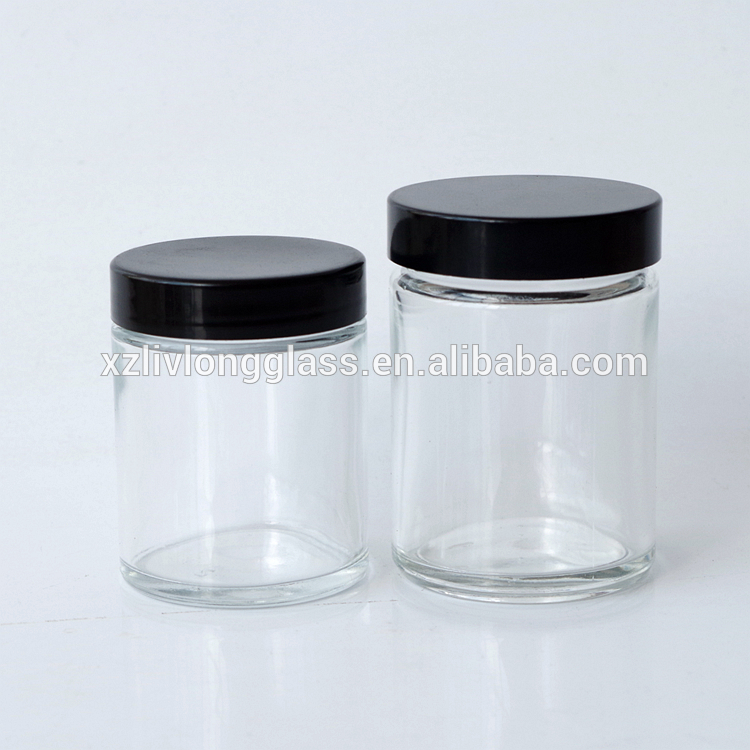2oz 3oz glass refillable cosmetic balms oils ointment container with black lid