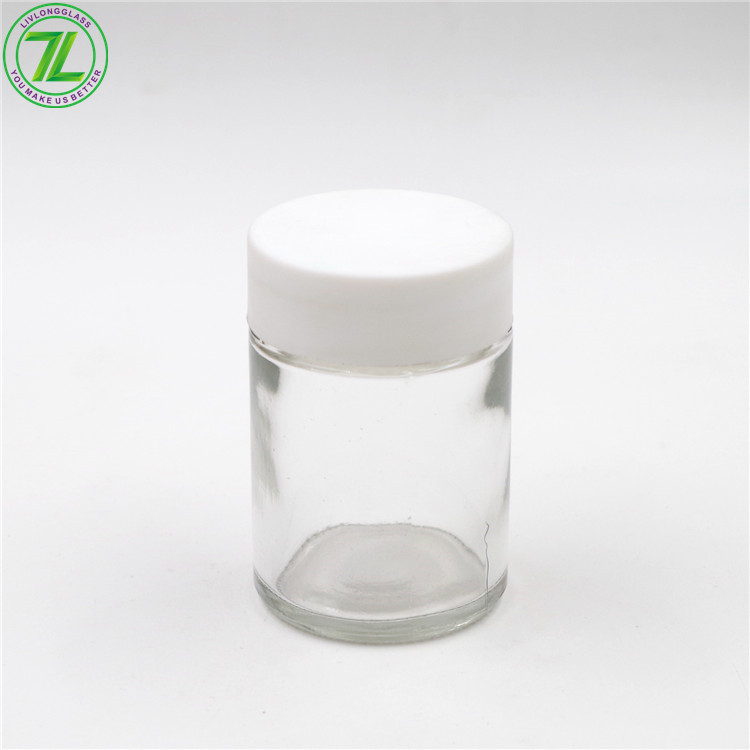60ml 80ml Glass Child Resistant Jar Glass Weeds Containers With Child Proof Lid