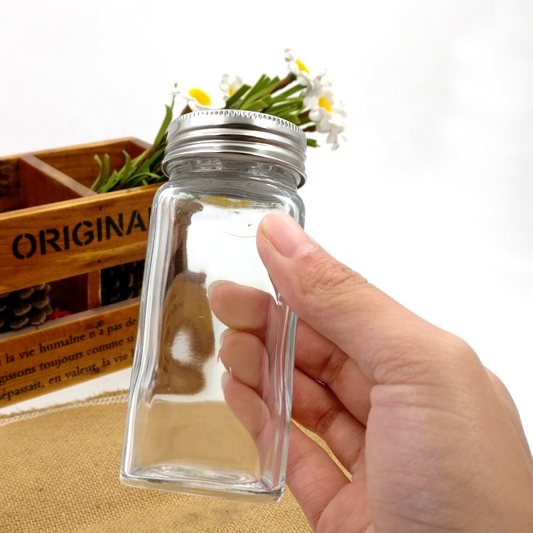 hot sale 120ml square salt bottle 120ml empty glass seasoning spice jar with shaker top Featured Image