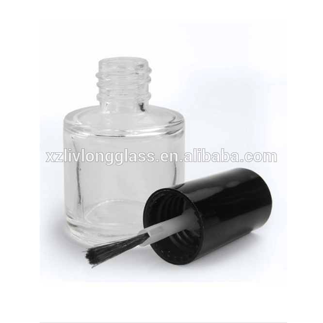 10ml Glass Nail Varnish Bottle, 13mm Black Desi Cap & Brush Applicator