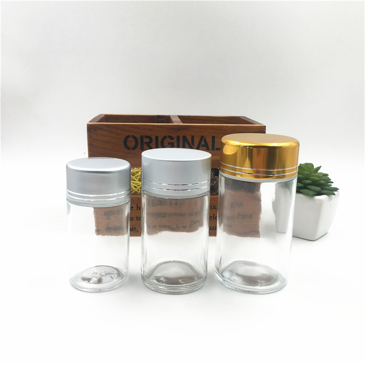 Round Clear Food Grand Glass Jar For Candy With Aluminium Cap