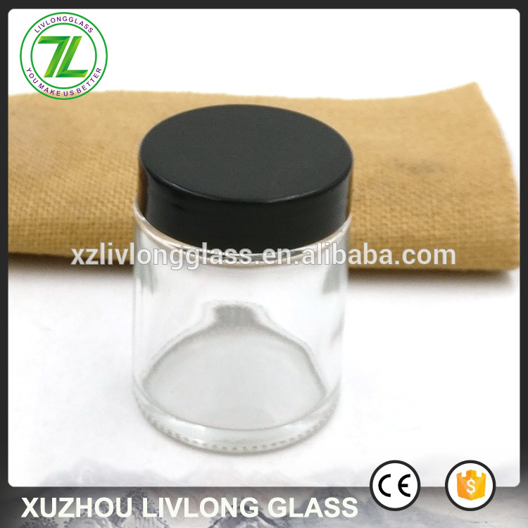 2oz airtight glass bottle 60ml clear straight sided glass jar with black lids