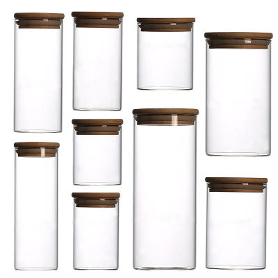 hot sale  high borosilicate glass sealed jar food snack storage bottle transparent jar grain storage tank 500ml