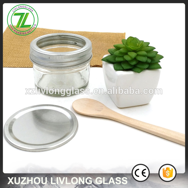 wholesale 75ml wide mouth bottle 3oz short glass jar with lids and wood spoon