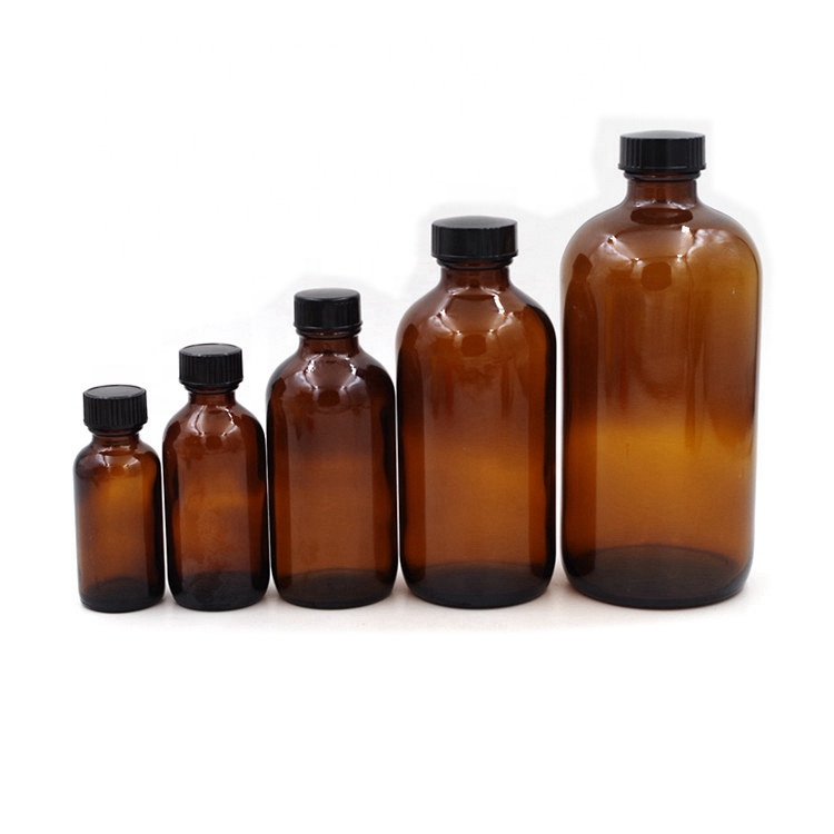 Empty Amber Boston Round Glass Bottles With Regular Screw Cap
