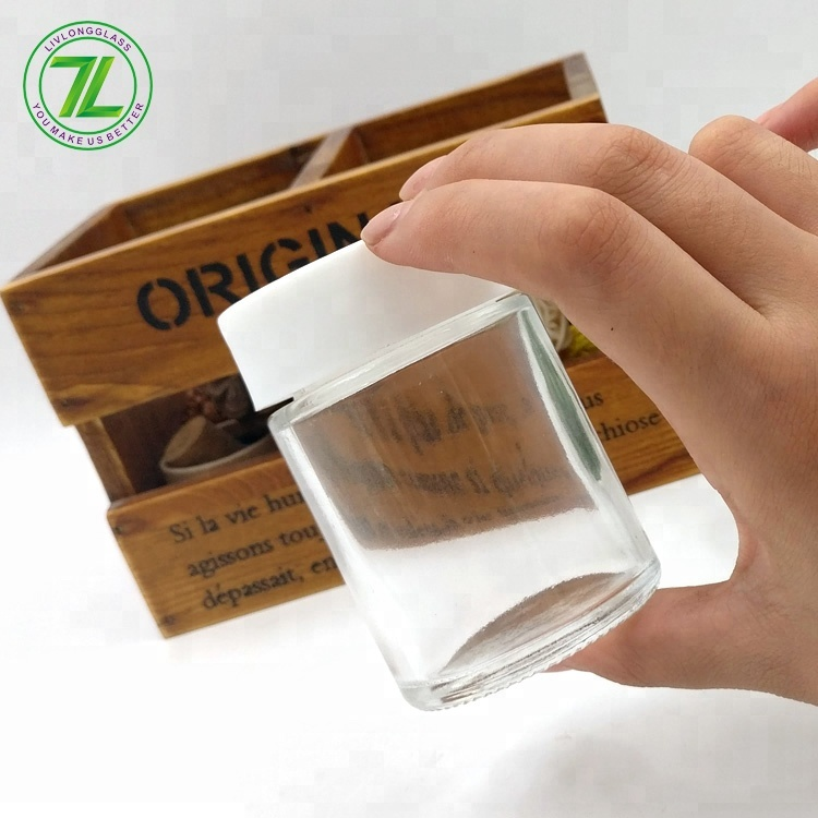 customize 3oz weed packaging 150ml empty child resistant glass jar with white lids