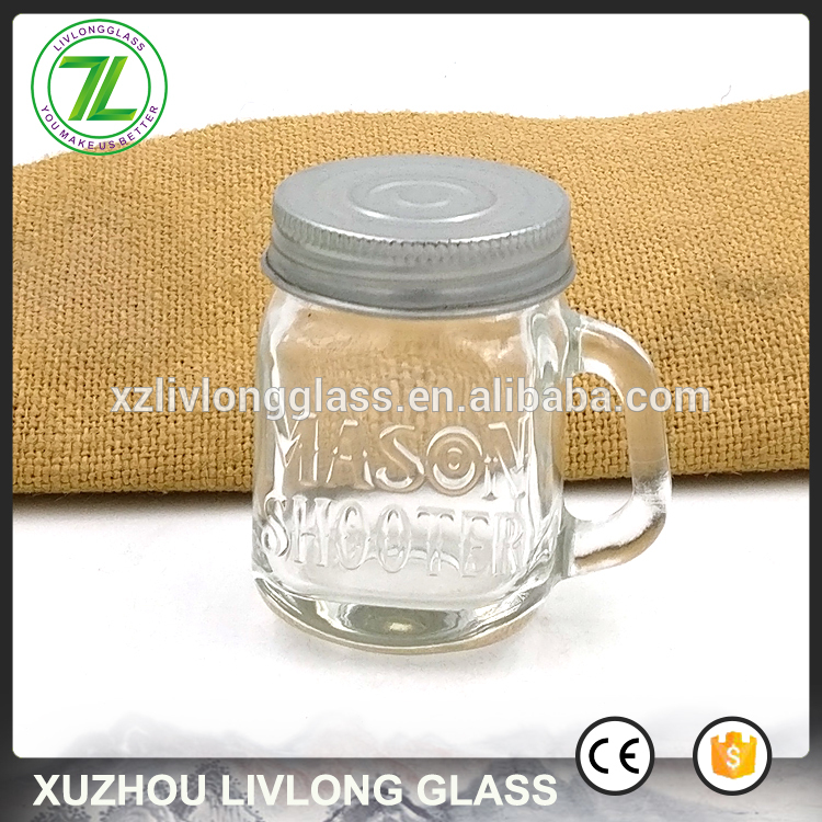 custom design 1.75oz glass mini mason jar 60ml 2oz drinking shots with handle