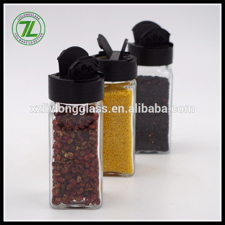 salt and herbs shaker 120ml pepper bottle 4oz glass square spices jar with black cap