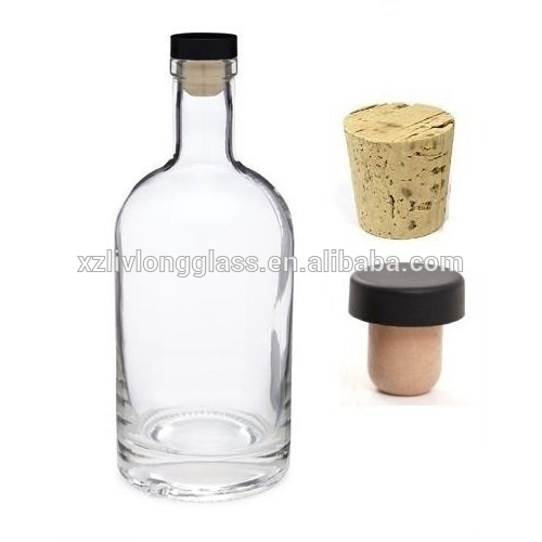 750ml 25 oz Heavy Base Flint Glass Liquor Wine Bottles with T top Corks