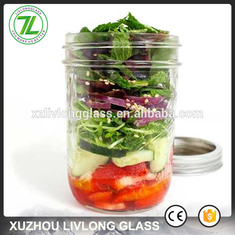 wide mouth 120ml 200ml salad glass mason jar with lids and rings