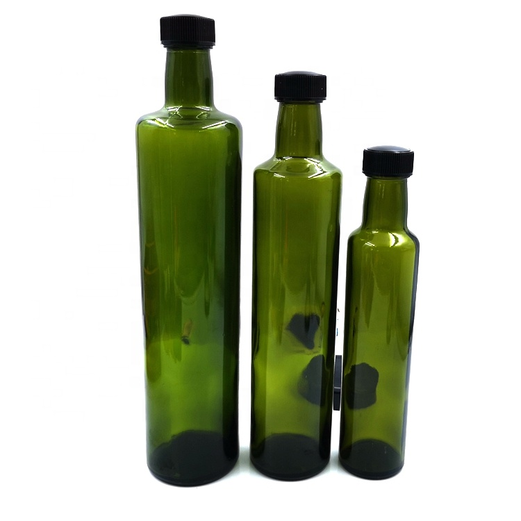 250ml 500ml 750ml Green Round Shape Olive Oil Glass Bottles with Airtight Screw Cap and Dispenser