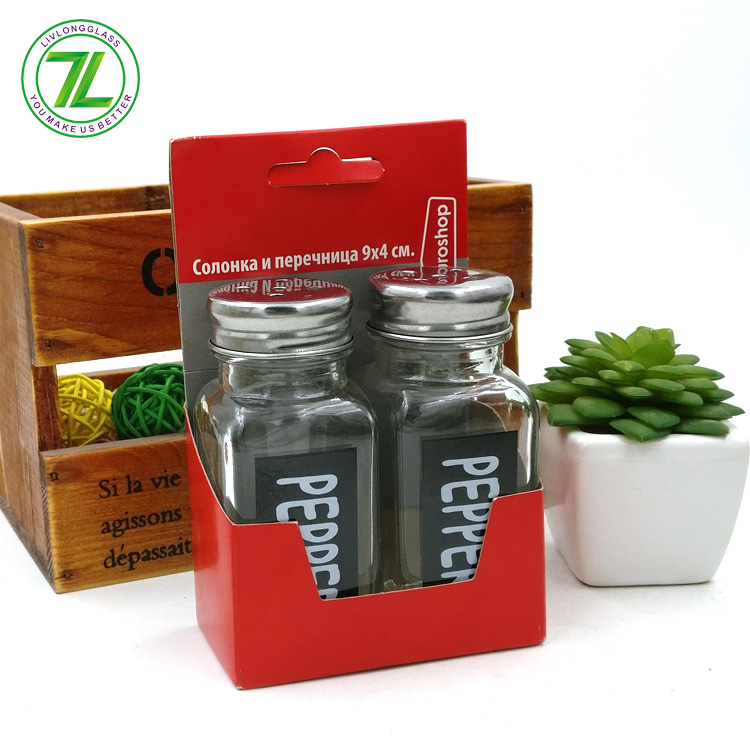 custom design 60ml pepper bottle 2oz square glass spice jar with metal shaker