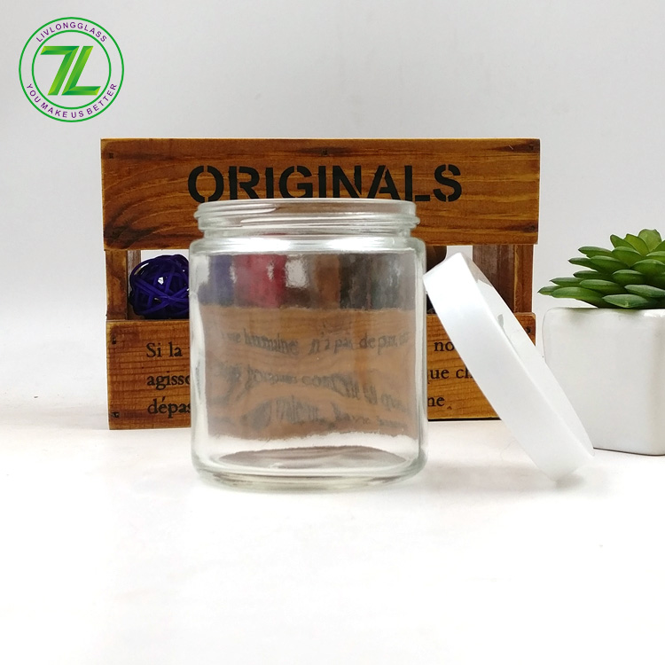 custom design 6oz straight side bottle 150ml 180ml empty hemp glass jar with lids