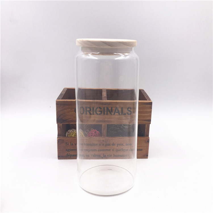 Borosilicate Handmade High Quality Round Clear Glass Storage Jar With Wooden Bamboo Lid