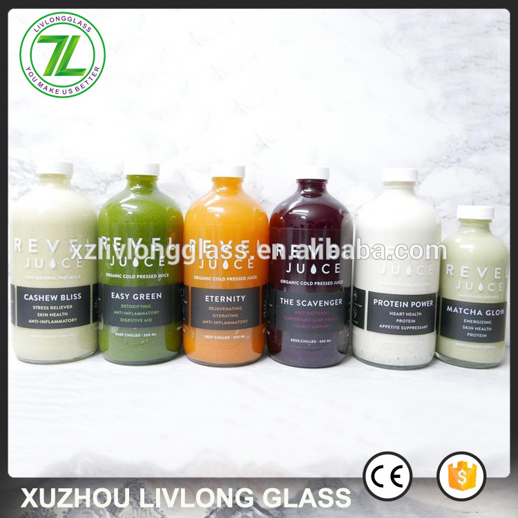 Low MOQ for 50ml Glass Bottle - boston round shape 16oz cold pressed juice bottle 500ml drinks glass bottle with plastic lid – LIVLONG