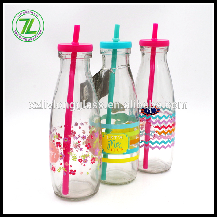 stocked 500ml drinkware glass juice bottle with straw
