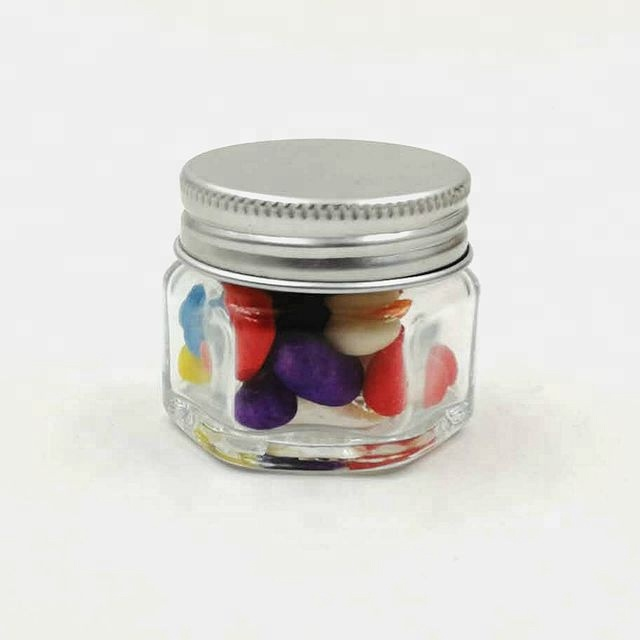hot selling 15ml mini glass hexagon jar with aluminum lid