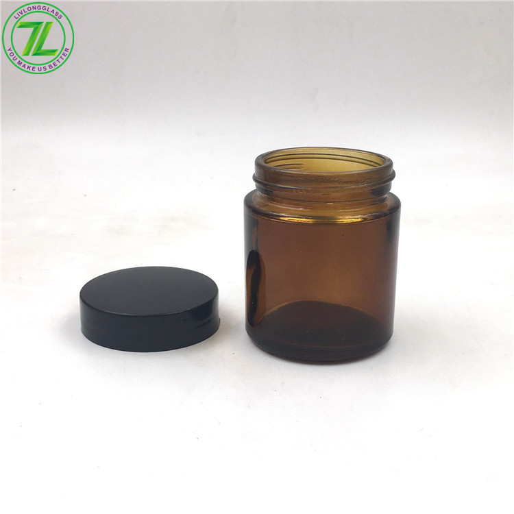 3oz Glass Straight Sided Amber Jar With Lid