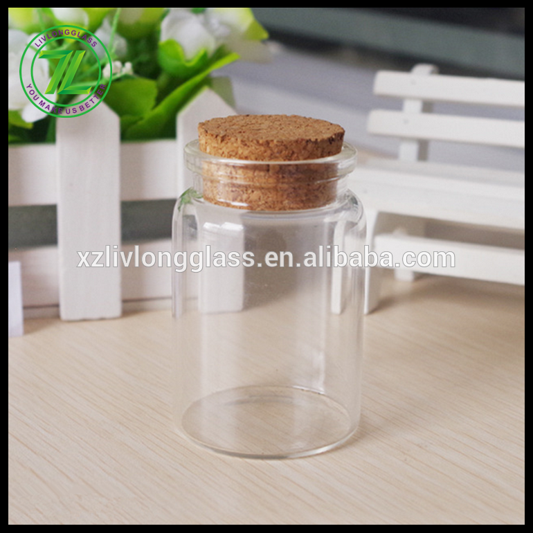 47mm diameter and 70mm height cork sealing glass tube jar with cork