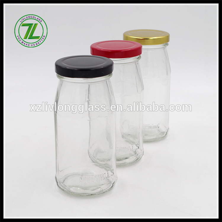 cheap price 8oz wide mouth drinks glass bottle 250ml milk bottle with metal twist off cap