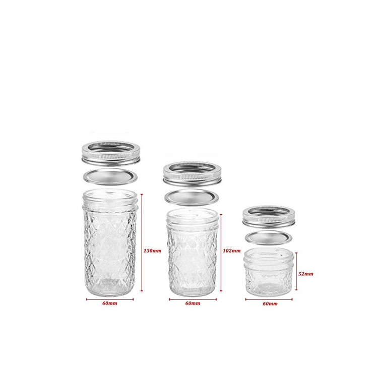 Glass Mason Jars For Jelly Jam With Silver Lids