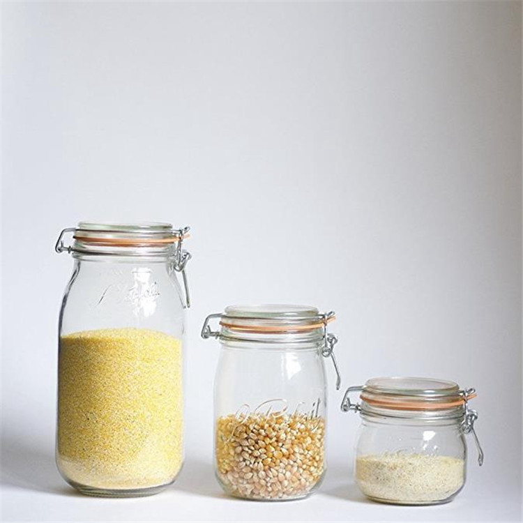500ml 16oz Clear Round Glass Jar With Clip Top And Seal
