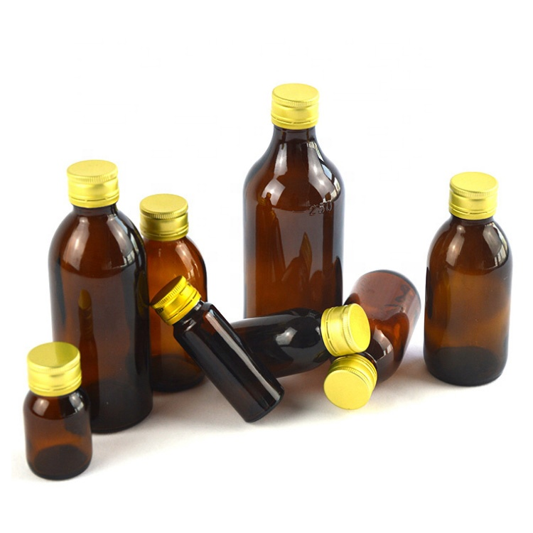 wholesale 28mm neck 30ml brown oral liquid solution container 1oz airtight amber glass syrup bottle with gold aluminum screw cap