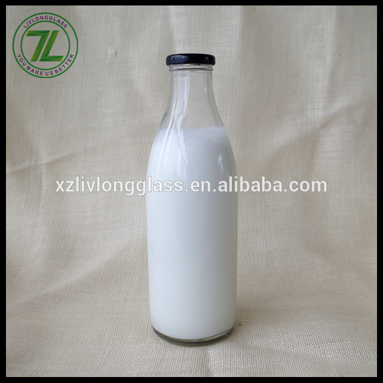 32oz glass flint milk bottle with 43mm lid