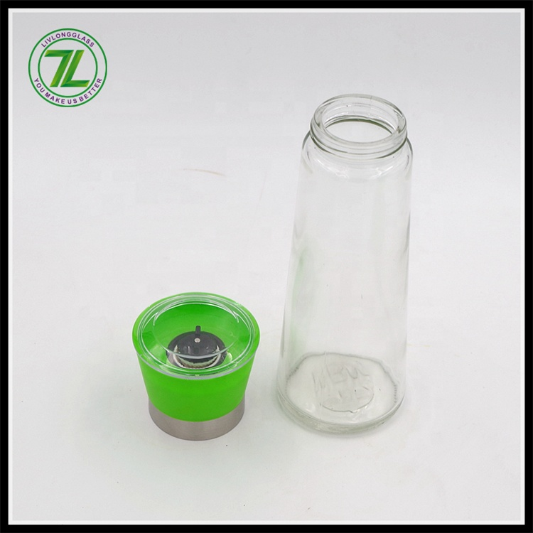 wholesale household  pepper mill grinder glass jar with green grinder spice glass jar