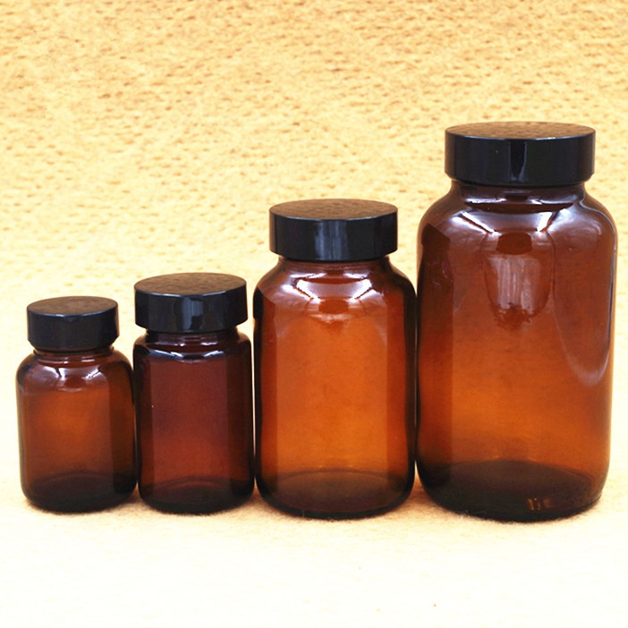 stocked amber pill spell tablet loading glass bottle farm chemical pesticide bottle with plastic screw lid for medicine powder