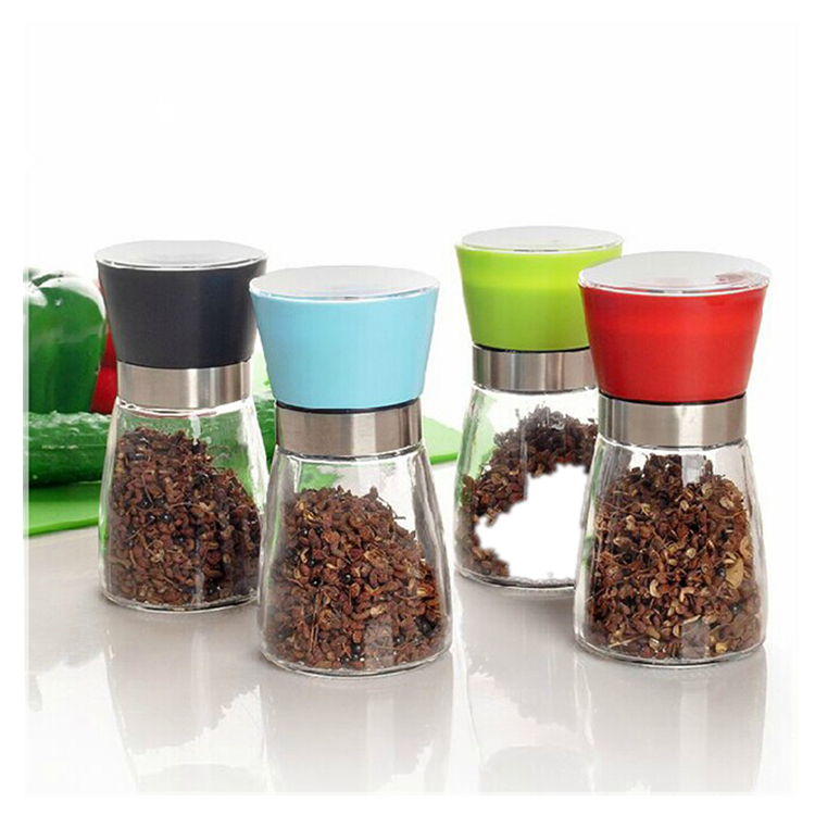 6 oz 180ML Clear Glass Spice Jar Salt Pepper with Grinder
