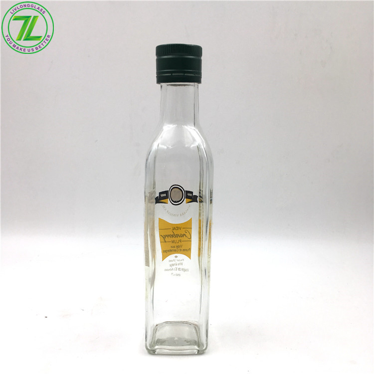 9oz 270ml Glass Olive Oil Bottle Glass Square Oil Bottle With Cap