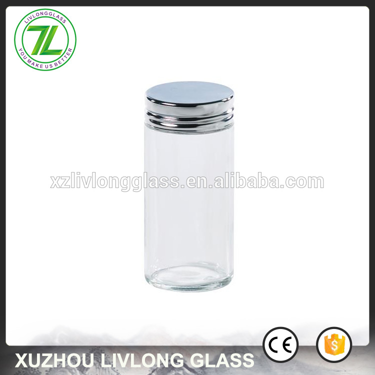 custom made 70ml round spices jars 3.5oz clear glass table salt container with metal lid