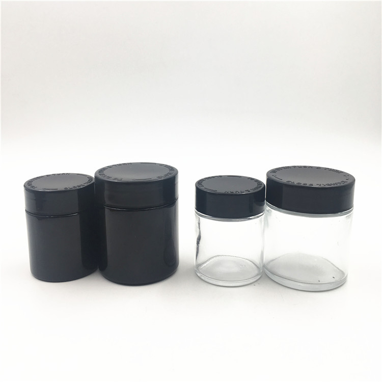 2oz 4oz childproof black glass jars with black bamboo child resistant lids