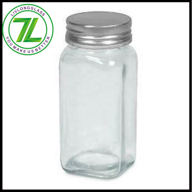 customize home kitchen use 120ml empty clear salt bottle 4oz square spice jar with metal cap and chalkboard label funnel