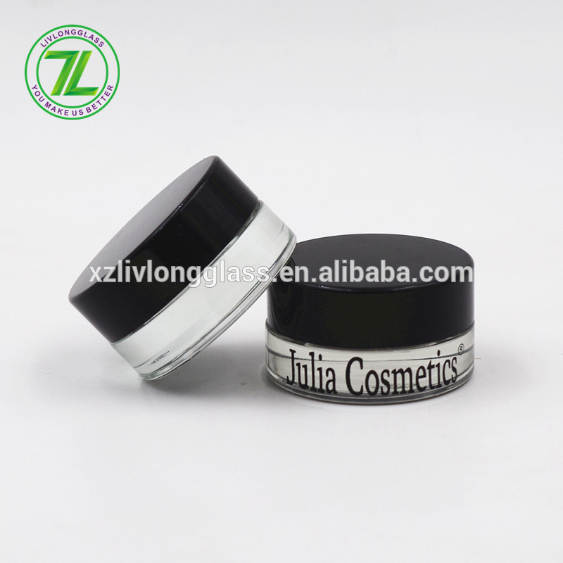 custom design 5g mini glass eye cream cosmetic jar 5ml with lid