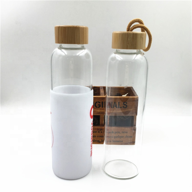 OEM/ODM China Amber Lotion Bottle - 350ml 420ml 500ml Borosilicate Glass Water Bottle With High-end Bamboo Lid And Silicon – LIVLONG