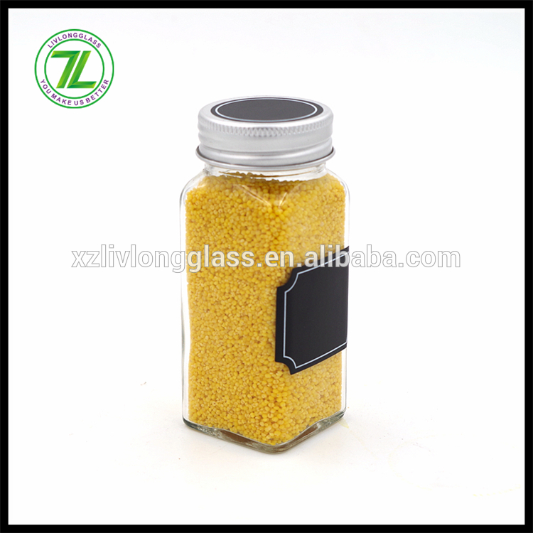 4oz / 120ml clear glass square spice jar with clip top