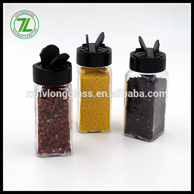salt and herbs shaker 120ml pepper bottle 4oz glass square spices jar with black cap Featured Image