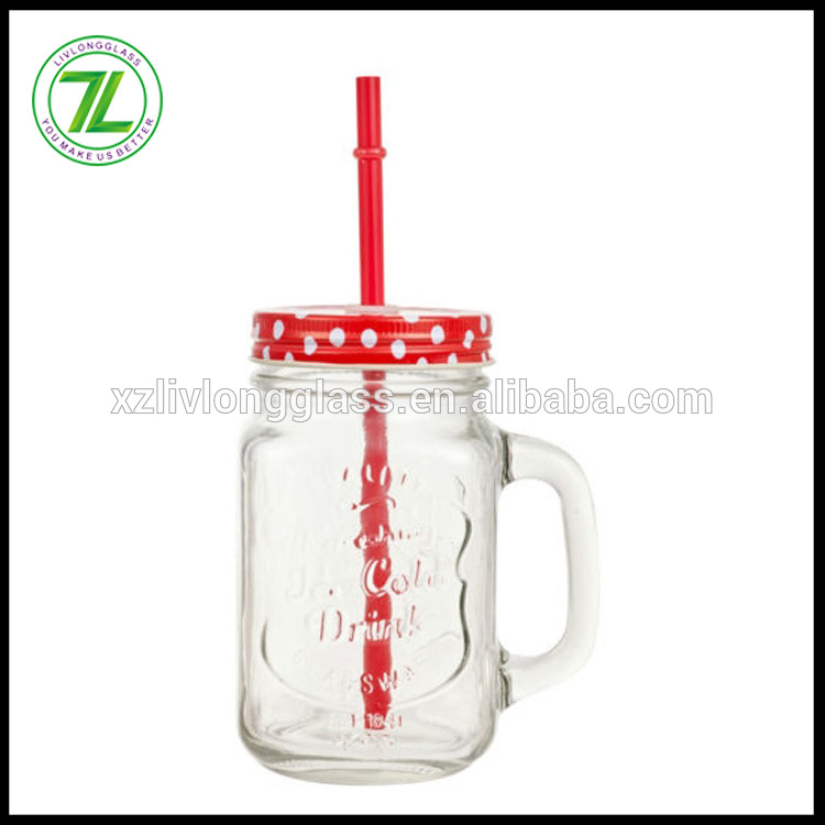 wholesale 450ml embossed mason drinking jar 16oz glass mugs with straws and lids