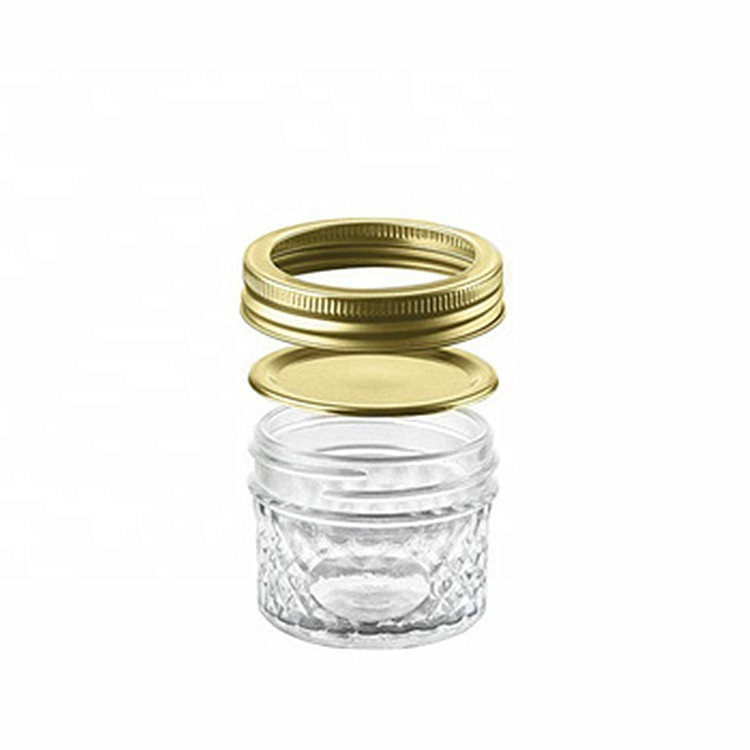 hot sale 4oz Glass Mason Jars For Jelly Jam With Gold Lids