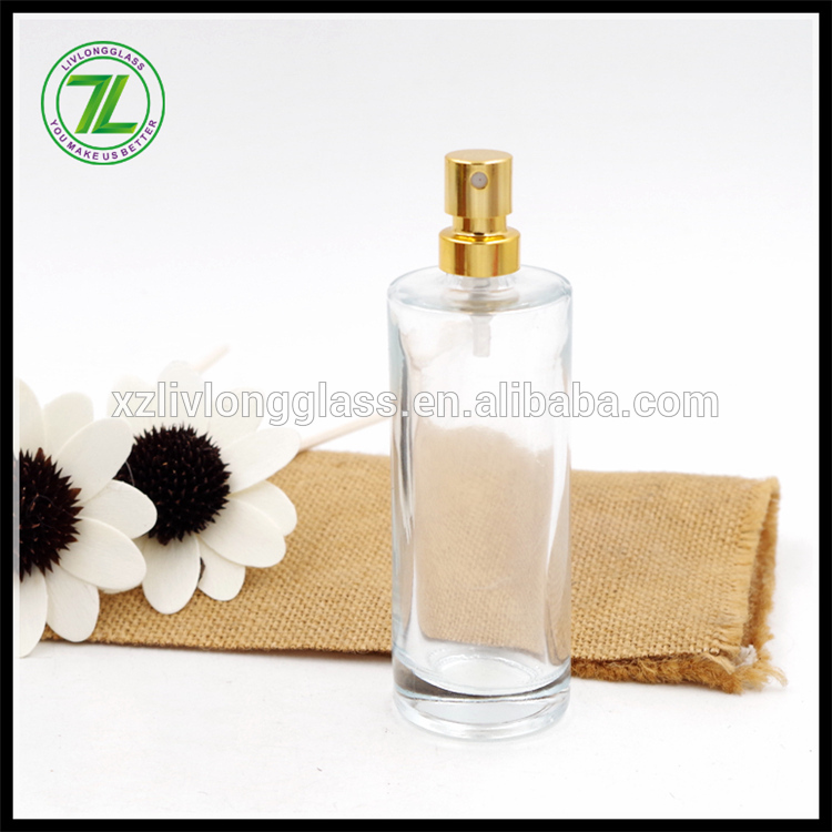 50ml cylinder high quality glass perfume bottle with pump sprayer